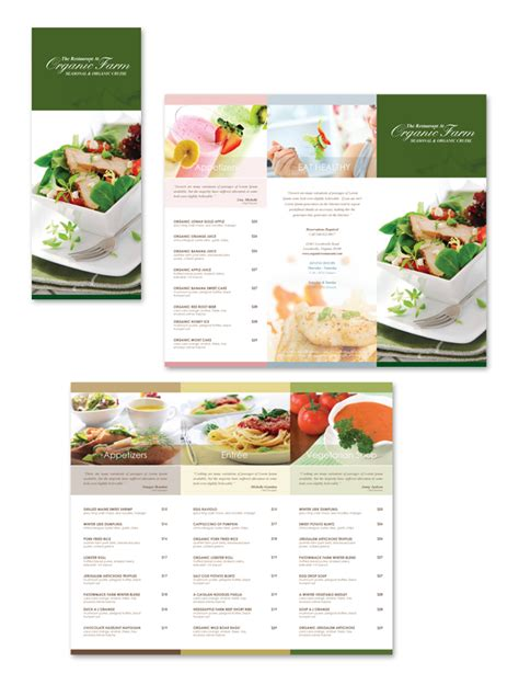 folded menu template organic restaurant tri fold menu template