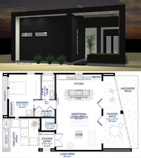 tiny modern house plans studio900 small courtyard plan