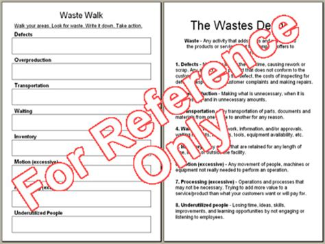 waste walk template lean assessment template