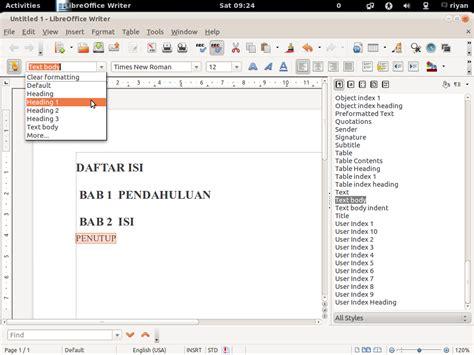 video tutorial membuat daftar isi tutorial membuat daftar isi pada libre office