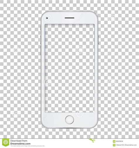 phone screen template white phone template with blank screen stock vector