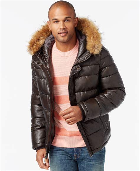 tommy hilfiger puffer jacket fur hood lyst tommy hilfiger faux leather puffer hoodie jacket in