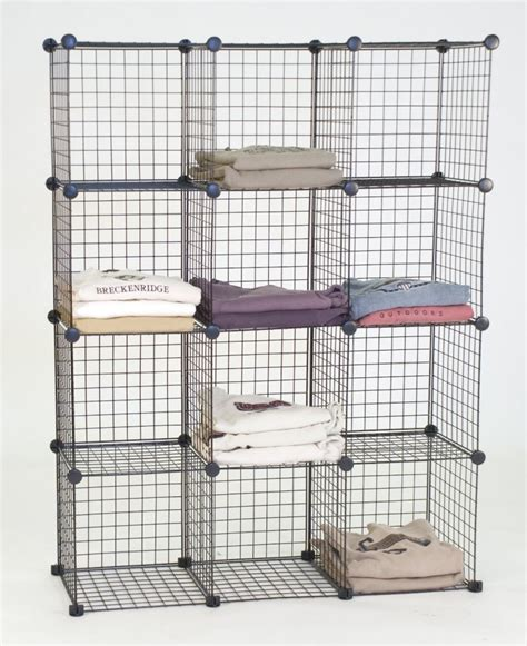 minimalist bedroom with wire cube storage shelving