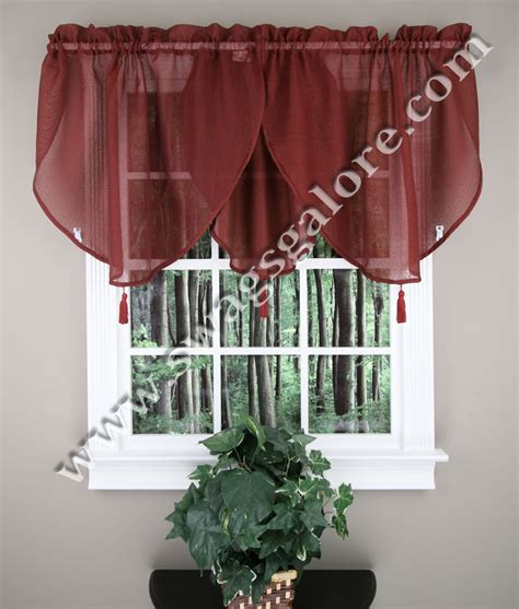 Burgundy Kitchen Valances Reverie 40 X 25 Ascot Valance Burgundy Lorraine Kitchen