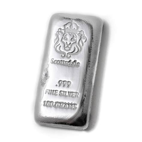 100 Gram Silver Bars by 100 Gram Cast Silver Bar By Scottsdale Mint 999 Silver