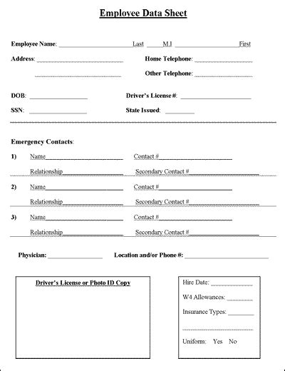 employee information sheet business cleaning business