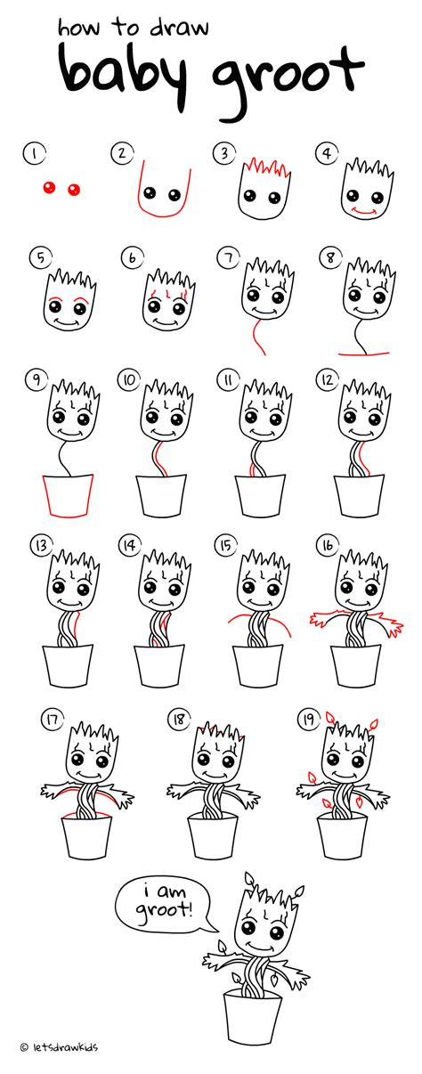 doodle drawing step by step how to draw baby groot easy drawing step by step