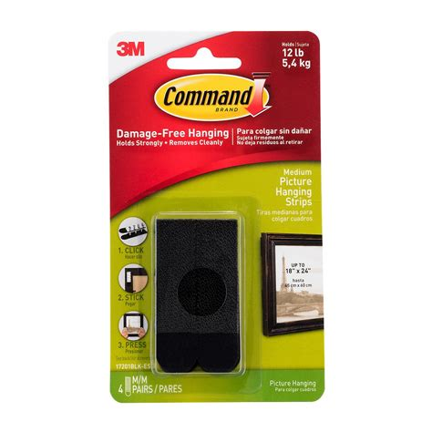 3m Command Adhesive Picture Hanging Strips The Container | 3m command adhesive black picture hanging strips the