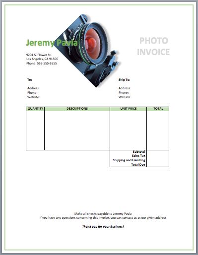 Photography Invoice Template Free Invoice Templates Template For Photographers