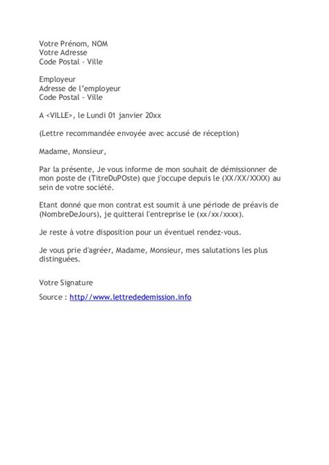 Exemple De Lettre De Démission Suisse Gratuit Lettre De D 233 Mission Cdi Application Letter