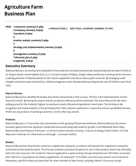 agriculture business plan template farm business plan template 9 free sle exle