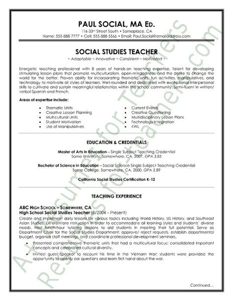 social studies resume sle page1 and