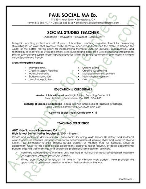 social studies resume sle page1 and principal resume sles