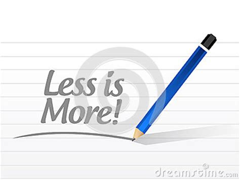 design concept less is more less is more message sign concept stock illustration