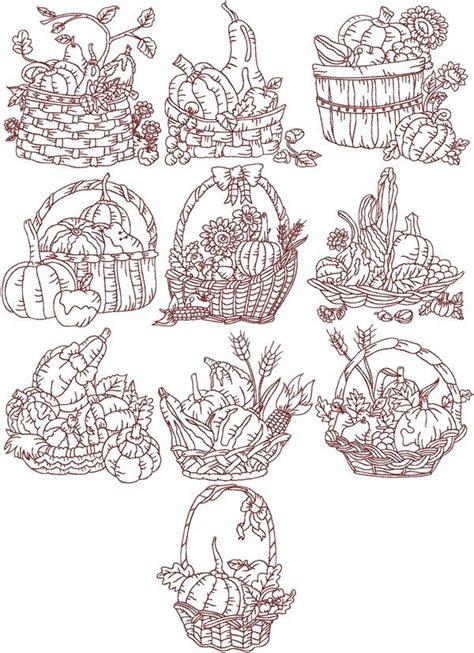 embroidery design redwork redwork embroidery patterns harvest basket redwork set