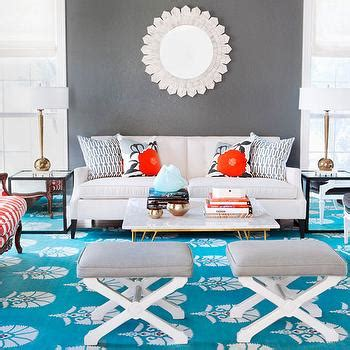 Grey And Turquoise Living Room Wingback Chairs With Mirrored End Table Transitional Living Room