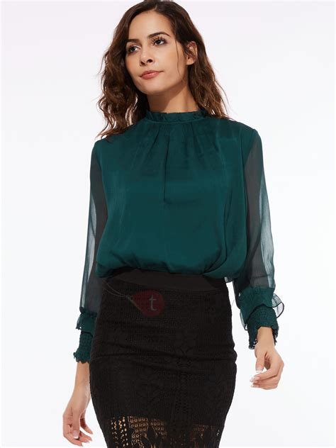 Pleated Collar Sleeve Top chic pleated collar see through sleeves blouse tidebuy