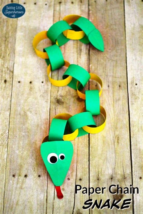 Paper Snake Craft - how to make a paper chain snake