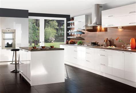 white gloss kitchen cabinets decosee