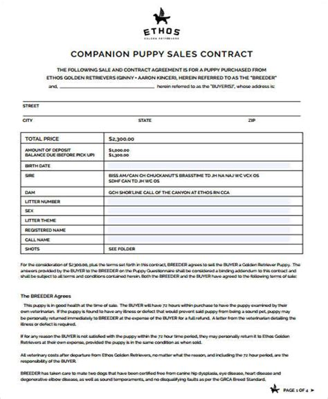 7 Puppy Sales Contract Sles Templates Sle Templates Puppy Contract Template