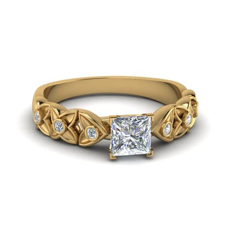 princess cut floral style accent engagement ring