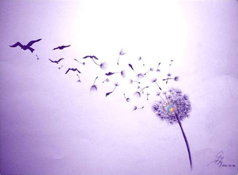 let go dandelion seeds birds violet flame journey in