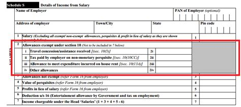 allowances exempt under section 10 itr2 exempt income in schedule s