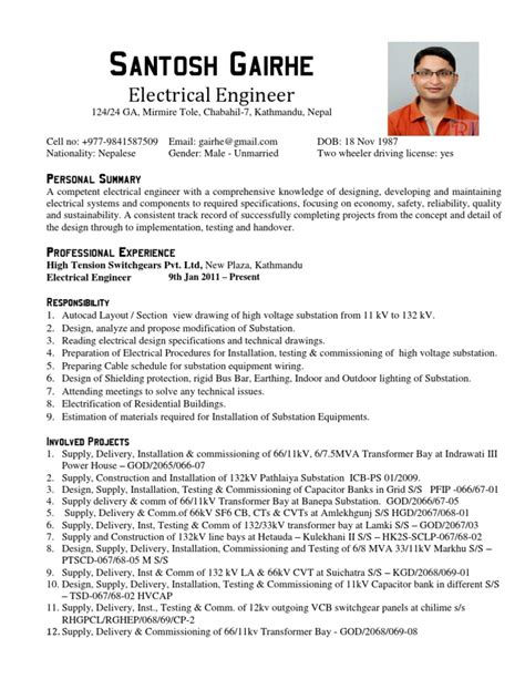 Resume Format Doc For Electrical Engineers Electrical Engineer Cv Sle Electrical Substation