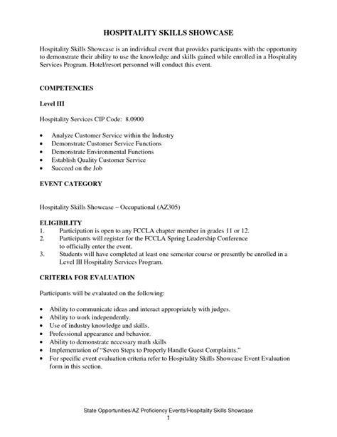 sle resume hospitality skills list great resumes