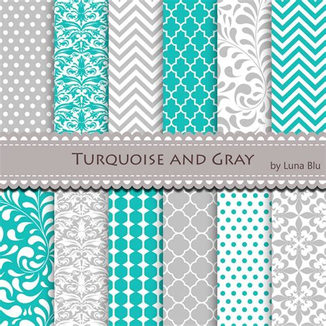 grey pattern turquoise manduca new item added to my shop turquoise and gray digital paper