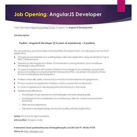 we are hiring angularjs developer 2 years of experience