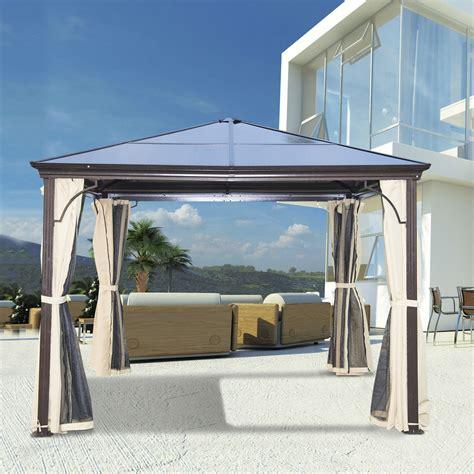 Alu Pavillon Mit Glasdach by Outsunny Luxus Pavillon Gartenpavillon Alu Partyzelt