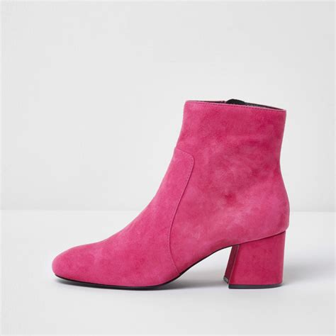 Boots Pink pink block heel suede ankle boots shoes boots sale