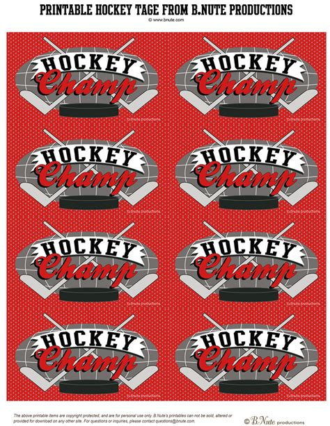 printable hockey decorations bnute productions free printable hockey party tags and