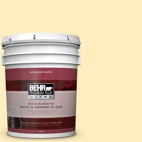 behr premium plus ultra 5 gal p290 1 soft buttercup matte interior paint 175005 the home depot