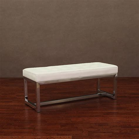 modern benches indoor liberty modern white leather bench contemporary indoor benches by overstock com