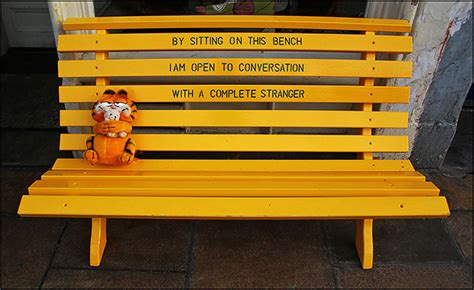 yellow bench edinburgh garfield stops for a rest at the yellow bench cafe half