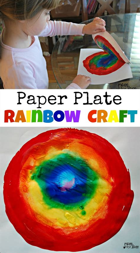 crafts with paper plates paper plate rainbow craft mess for less