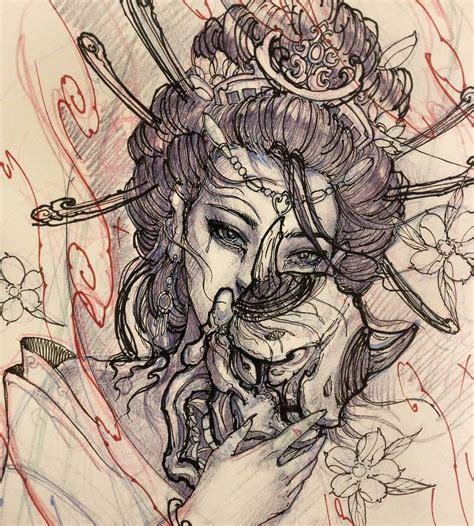 tattoo of geisha illustration japan tattoo irezumi