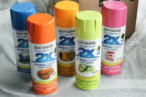 We used rust oleum spray paint in a variety of yummy colors see