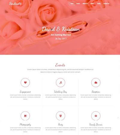 bootstrap templates for wedding soulmate bootstrap html wedding template webthemez