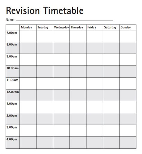 blank revision timetable template timetable template 9 free documents in pdf excel