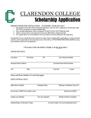 College Scholarships Applications Fill Online Printable Fillable Blank Pdffiller Scholarship Application Template Pdf