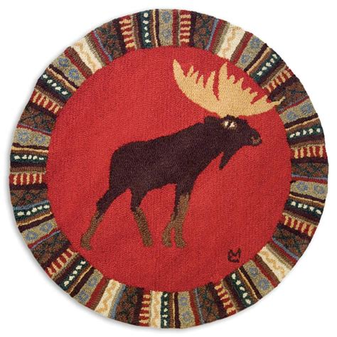 3 foot rug cinnamon moose 3 foot hooked wool rug