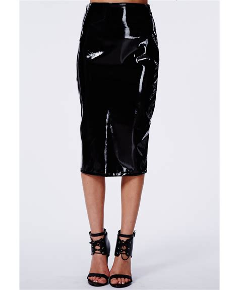 missguided mircia pvc midi skirt in black in black lyst