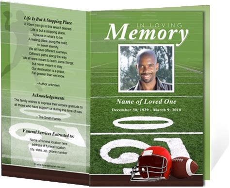 sports program template free funeral programs and obituary programs football sports