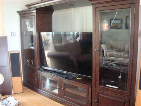 Glass Door Entertainment Center Entertainment Center With Glass Doors And Towers Cbell River Comox Valley