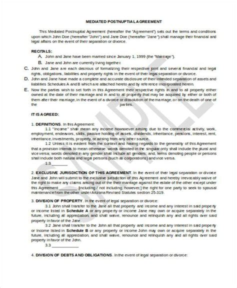 post nuptial agreement template sle postnuptial agreement forms 7 free documents in
