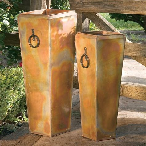 rustic planters shop h potter 13 in x 35 in rustic copper metal planter