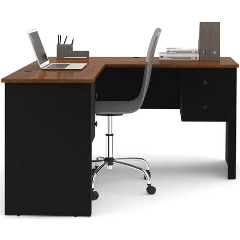 i shaped desk monarch cappuccino hollow l shaped home office desk